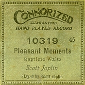 rare piano roll label for pleasant moments played by joplin