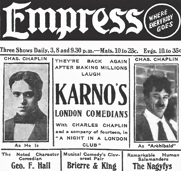 advertisement for karno show featuring chaplin